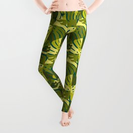 Monstera Leaves in Green Leggings