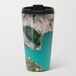 Blue river between the cliffs Travel Mug