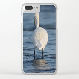 Snowy Egret Blowing in the wind Clear iPhone Case