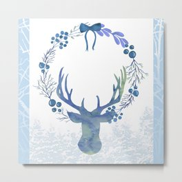 Stag Of The Winter Evergreens Metal Print