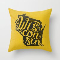 wisconsin Throw Pillows featuring Wisconsin by Landon Sheely