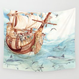 Observing Sharks Wall Tapestry