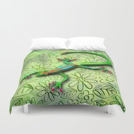 Gecko Lizard Rainbow Colors Duvet Cover