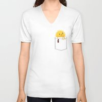 sunshine V-neck T-shirts featuring Pocketful of sunshine by Picomodi