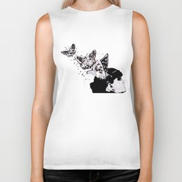 Long Gone Whisper II (street art graffiti painting, girl with butterflies) Biker Tank