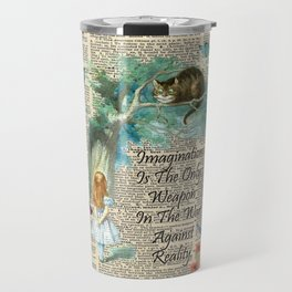 Alice In Wonderland Quote - Imagination - Dictionary Page Travel Mug