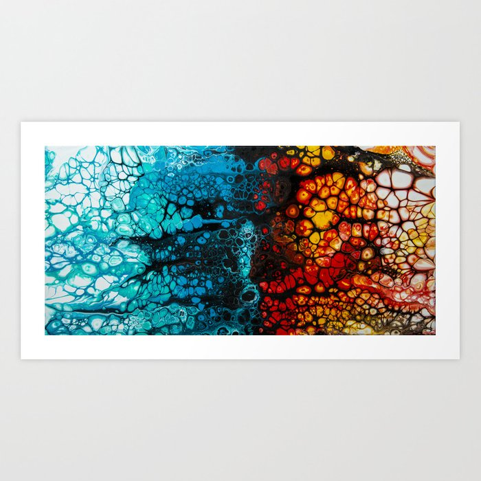 Fire Ice Acrylic Pour Painting Art Print By Spydphotography