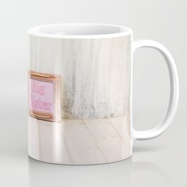Empty bright interior with copy space and frame with text Coffee Mug
