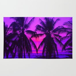 Pink Palm Trees by the Indian Ocean Rug