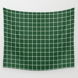 Cal Poly Pomona green - green color - White Lines Grid Pattern Wall Tapestry