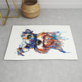 Schnauzer Head Watercolor Portrait Rug