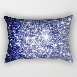 Deep Blue Silver Gray Galaxy Sparkle Ombre Rectangular Pillow
