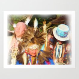 Three elders dance Art Print