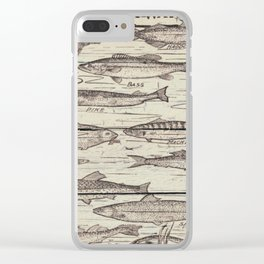 father's day fisherman gifts whitewashed wood lakehouse freshwater fish Clear iPhone Case