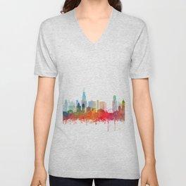 Chicago City Skyline Watercolor by zouzounioart Unisex V-Neck
