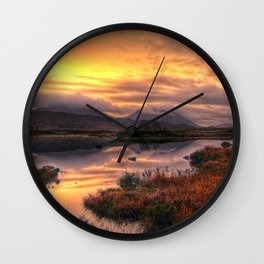 Golden Sunrise Over Loch Ba Wall Clock