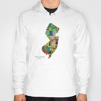 new jersey Hoodies featuring New Jersey state map by bri.buckley