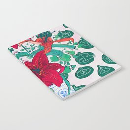 Tropical Lily Bouquet in Delft Vase with Matisse Leaf Cutout Background Notebook