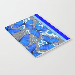 Decorative Blue Shades Butterfly Grey Pattern Art Notebook