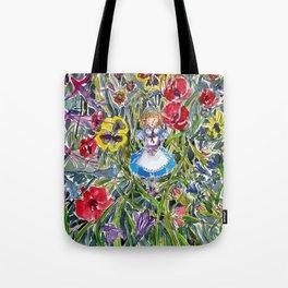 Alice in Wonderland & The Garden of Live Flowers Tote Bag