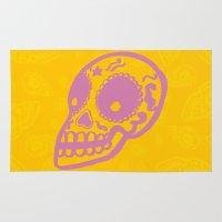 sugar skulls Area & Throw Rugs featuring Sugar Skulls by Rhys Prosser