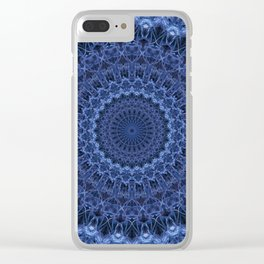 Dark and light blue tones mandala Clear iPhone Case