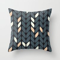 knitting Throw Pillows featuring Knitting by hank