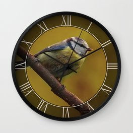 Small tit on the branch Wall Clock