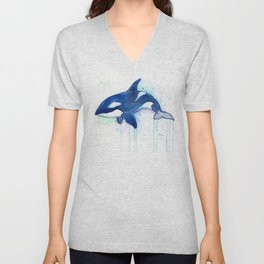 Killer Whale Orca Watercolor Unisex V-Neck