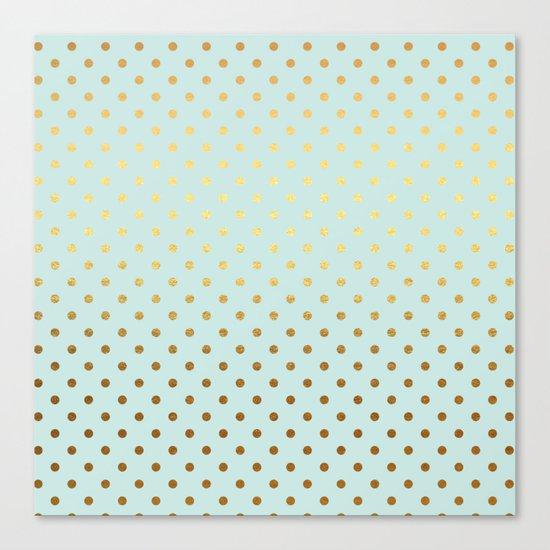 Gold polka dots on aqua background - Luxury turquoise pattern #Society6 Canvas Print
