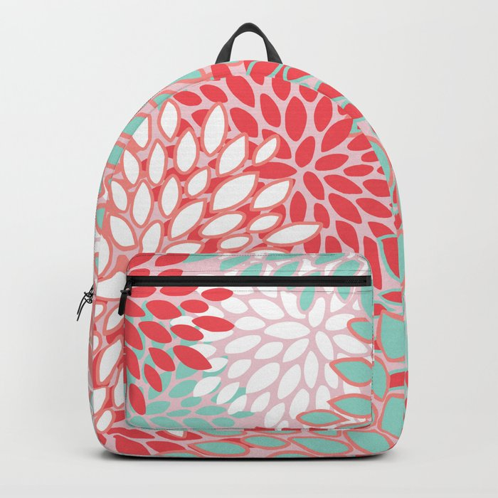 Flowers Abstract Pattern, Red, Pink, Mint Green Backpack by meganmorrisart