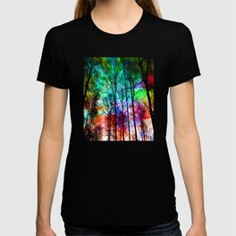 colorful abstract forest T-shirt