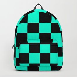 Black and Aqua Checkerboard Pattern Backpack