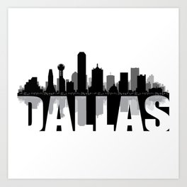 Dallas Silhouette Skyline Art Print