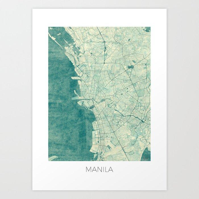 Manila Map Blue Vintage Art Print