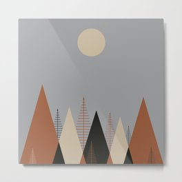Minimalist Scandinavia Abstract Concept Forest Dawn Brown Grey Neutral Metal Print