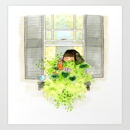 Leafy Window Box Art Print