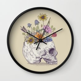 Half Skull Flowers Wall Clock