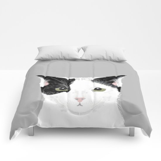 Manny - Black and white cute cat gift cat person cat lady funny cat meme pet portraits customizable  Comforters