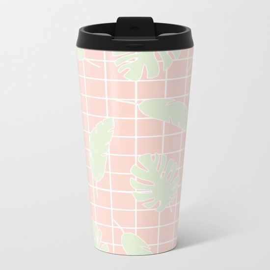 Graphic Tropical Leaves on Grid Pink and Mint Green Metal Travel Mug