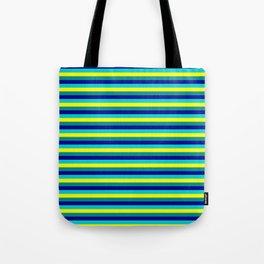Eyecatching Dark Cyan, Dark Blue, Dark Turquoise & Yellow Stripes/Lines Pattern Tote Bag