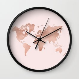 Rose Gold World Map Wall Clock