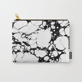 Black and White bubbles Spilled Ink Marbled Paper Carry-All Pouch