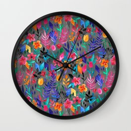 Popping Color Painted Floral on Grey Wall Clock