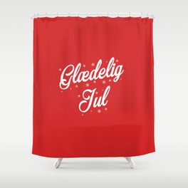 Glaedelig Jul Red Background Shower Curtain