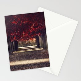 Red colors of autumn, surreal photo, red trees, alley in a park Stationery Cards