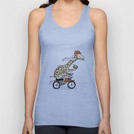 Giraffe on a motorbike eating a cheese sandwich... Unisex Tank Top