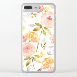 Acacia Vintage watercolored florals-White Clear iPhone Case