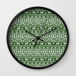 German Shorthair Pointer fair isle christmas holidays dog breed pattern green and white Wall Clock