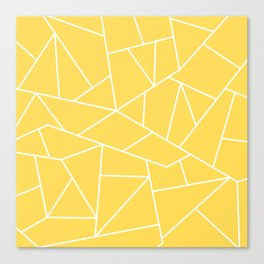 White Mosaic Lines On Mustard Yellow Canvas Print